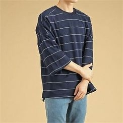 THE COVER - 3/4-Sleeve Stripe T-Shirt