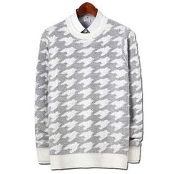 Seoul Homme - Round-Neck Houndstooth Sweater