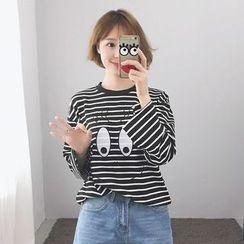 TriStyle - Embroidered Striped Long Sleeve T-Shirt