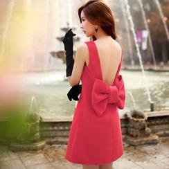 Dabuwawa - Wool Blend Sleeveless Bow-Accent Dress