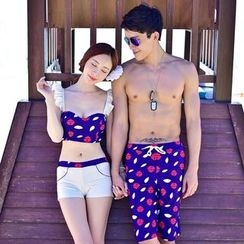 Roseate - Couple Matching Printed Tankini / Swim Shorts