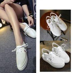 KIMI - Lace-Up Slingback Platform Shoes