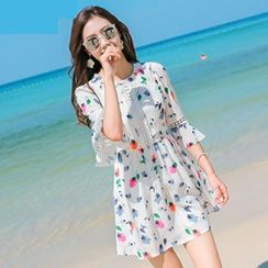 lilygirl - 3/4-Sleeve Floral Dress