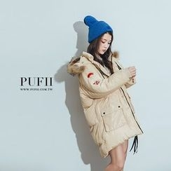 PUFII - 連帽可拆爆毛長版羽絨外套大衣