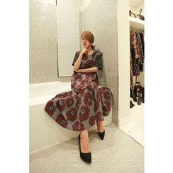PPGIRL - Floral Print Pleated-Hem Long Dress