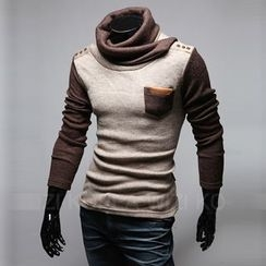 uninukoo - Cowl Neck Color Panel Long-Sleeve T-Shirt