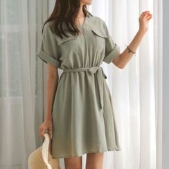 JUSTONE - A-Line Chiffon Shirtdress with Sash