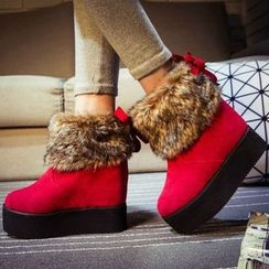 Sleeko - Furry-Trim Wedge Ankle Boots