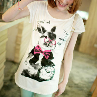 Tokyo Fashion - Short-Sleeve Bunny-Print T-Shirt