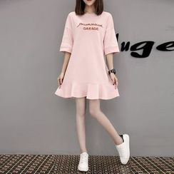 Emeline - Letter Embroidered Elbow Sleeve T-Shirt Dress