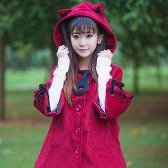 Jade Dragon - 3/4-Sleeve Hooded Coat