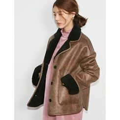 FROMBEGINNING - Fleece-Lined Faux-Leather Jacket