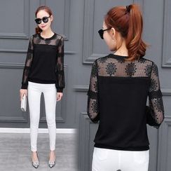Sienne - Lace Panel Long Sleeve Top