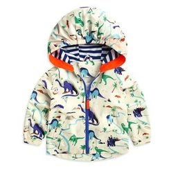 lalalove - Kids Dinosaur Print Hooded Windbreaker