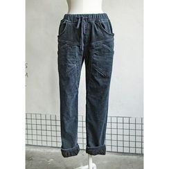 GOROKE - Drawstring-Waist Brushed-Fleece Lined Tapered Jeans