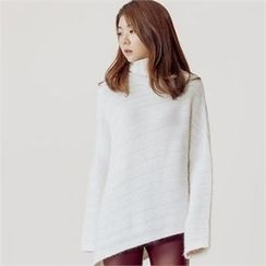 MAGJAY - Turtle-Neck Asymmetric-Hem Knit Top