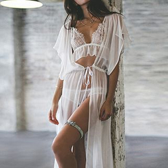 Sunset Hours - Drawstring Waist Chiffon Cover-Up