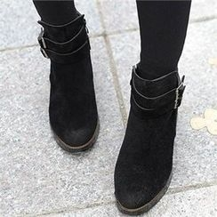 CHICFOX - Faux-Suede Zip-Up Boots