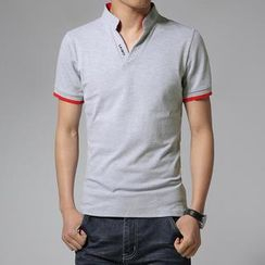 Alvicio - Short-Sleeve Mandarin Collar Polo Shirt
