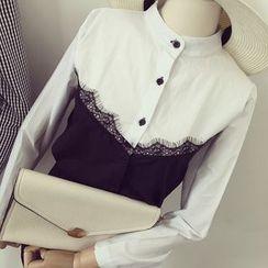 Honeydew - Lace Trim Panel Shirt