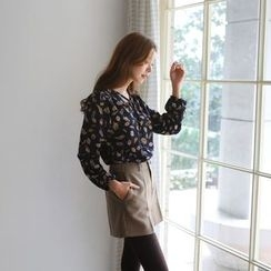 JUSTONE - Tie-Neck Patterned Chiffon Top