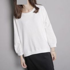 Sonne - 一字领宽松造型纯棉七分袖卫衣