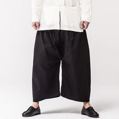 Ashen - Couple Low-Crotch Wide-Leg Linen Pants
