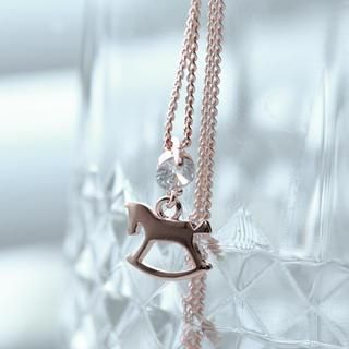 Cuteberry - Rhinestone Wooden Horse Necklace