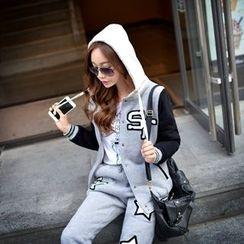 Dabuwawa - Applique Hooded Baseball Jacket