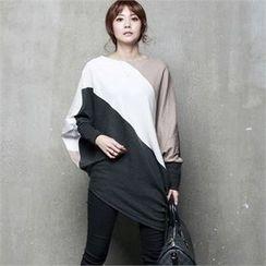 HALUMAYBE - Dolman-Sleeve Color-Block T-Shirt