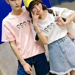 Evolu Fashion - Couple Matching Embroidered Short-Sleeve T-shirt