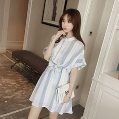 Eva Fashion - Striped Tie Waist Short Sleeve Dress