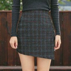 icecream12 - Wool Blend Check Mini Skirt