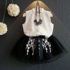 mina diva - Set of two: Single-Breasted Sleeveless Plain Lace Blouse + Tie -Waist Bow Mesh Skirt