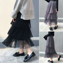 Tiny Times - Tiered Maxi Mesh Skirt