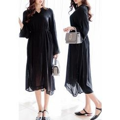 REDOPIN - Open-Placket Long Dress With Sash