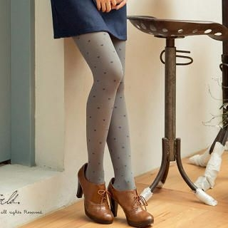 CatWorld - Heart-Print Velvet Tights