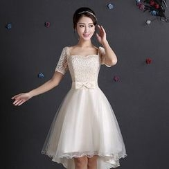 Fantasy Bride - Short-Sleeve High Low Mini Prom Dress