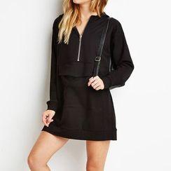 Richcoco - Loose-fit Hoodie Dress