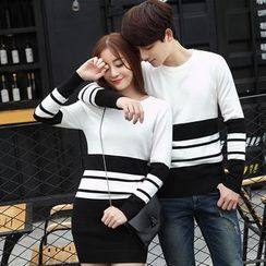 Igsoo - Couple Matching Colour Block Knit Top