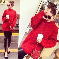 Hibisco - Ribbed Mock-neck Knit Top