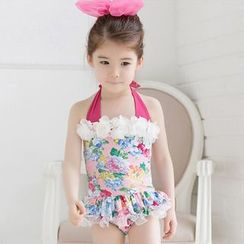 Mermaid's Tale - Kids Set: Floral Swim Top + Swim Bottom