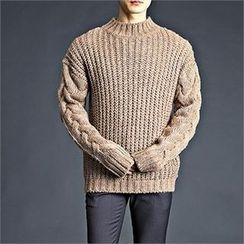 THE COVER - Mock-Neck Cable-Knit Sweater