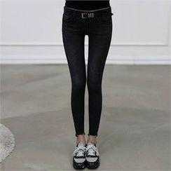 CHICFOX - Frayed-Hem Skinny Pants