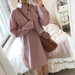 monroll - 長袖條紋襯衫裙