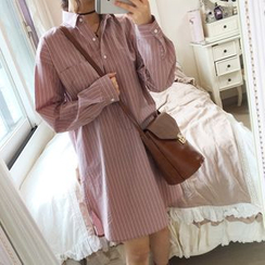 monroll - Long-Sleeve Striped Shirt Dress