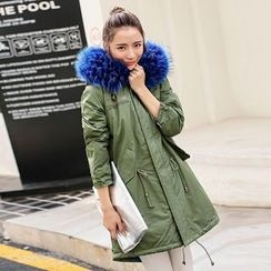 Ekim - Drawstring Faux Fur Trim Coat
