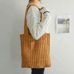 JUSTONE - Pocket-Front Rib-Knit Shopper Bag