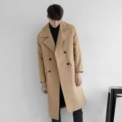 Seoul Homme - Wide-Collar Double-Breasted Wool Blend Coat