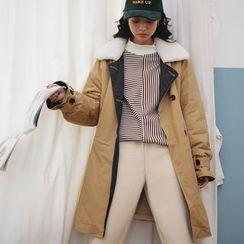 Morever - Fleece-Lined Paneled Buttoned Coat